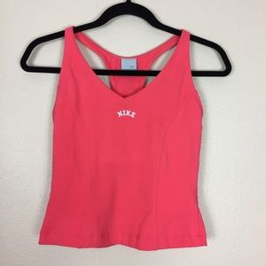 Nike spell out tank top shelf bra pink NWT